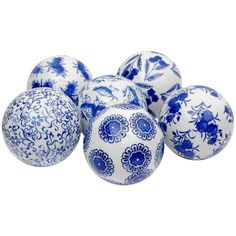 Decorative Porcelain Ball Set ($49) ❤ liked on Polyvore featuring home, home decor, blue, decor, floral centerpieces, floral home decor, blue home decor, ball centerpieces and blue centerpieces