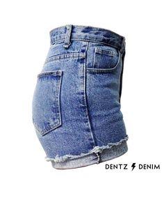 719a2c3bcc9b Blue High Waisted Denim Shorts Cuffed by DentzDenim on Etsy