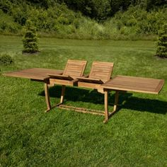 Extra-Long Rectangular Expandable Teak Table with Hideaway Inserts