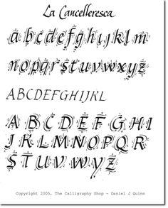 Calligrafia - Cancelleresca - The Calligraphy Shop