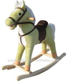 Verde de pelúcia cavalo de balanço para meninas