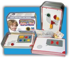 This magnetic version of MightyMind contains 32 design tiles in 6 basic geometric shapes, in different sizes & colours, plus matching magnetic shapes. Also includes a deck of 30 puzzle cards & a convenient storage bag. Shape Games, Magnetic Toys, Rainbow Resource, Thing 1, Activity Toys, Mind Games, Card Patterns, Business For Kids, Business Ideas