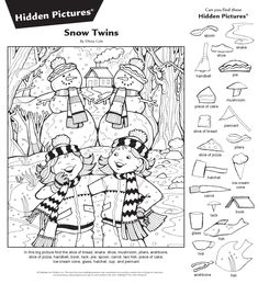 Coloring For Kids, Coloring Books, Coloring Pages, Christmas Worksheets, Worksheets For Kids, Visual Perceptual Activities, Fun Activities, Highlights Hidden Pictures, Hidden Pictures Printables