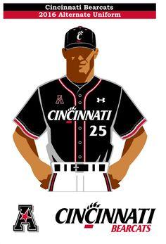 Cincinnati Bearcats 2016 alternate baseball uniform concept. Using the new Under Armour Cincinnati Stripe for the sleeve stiripe.