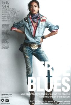 """Swedish model Kelly Gale giving us """"Americana-cool"""" in Denim & Supply Lucky Magazine's March issue"""