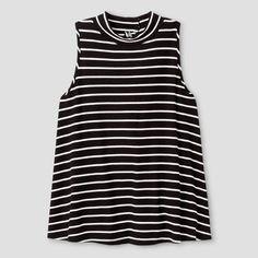 Girls' Ribbed Mock Neck Tank Top Stripe Art Class - Black/White M, Girl's