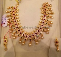 Ruby Emerald and CZ Mango Choker | Jewellery Designs