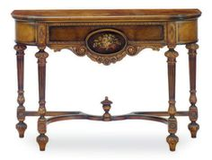 A CARVED WALNUT AND DECORATED CONSOLE TABLE, MID-20TH CENTURY