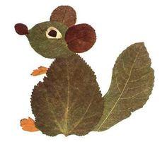 Squirrel leaf art - from predskolaci. Kids Crafts, Leaf Crafts, Fall Crafts For Kids, Art For Kids, Autumn Leaves Craft, Autumn Crafts, Autumn Art, Nature Crafts, Fall Leaves