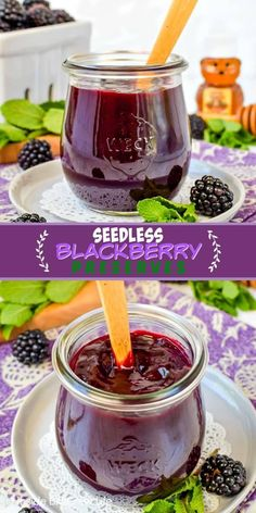Homemade Seedless Blackberry Preserves Homemade Seedless Blackberry Preserves - make your own homemade jam with just a few ingredients and a few minutes. Try this easy recipe on toast, pastries, or yogurt parfaits. Blackberry Preserves Recipes, Seedless Blackberry Jam, Blackberry Jam Recipe Easy, Blackberry Freezer Jam, Blackberry Sauce, Blackberry Drinks, Jelly Recipes, Dessert Recipes, Cake Recipes
