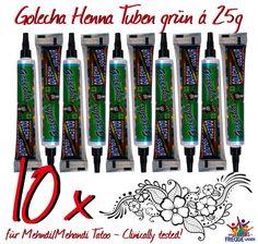 10x Golecha Henna Paste grün in Tuben á 25g für Mehandi Tatoo - Klinisch getestet!