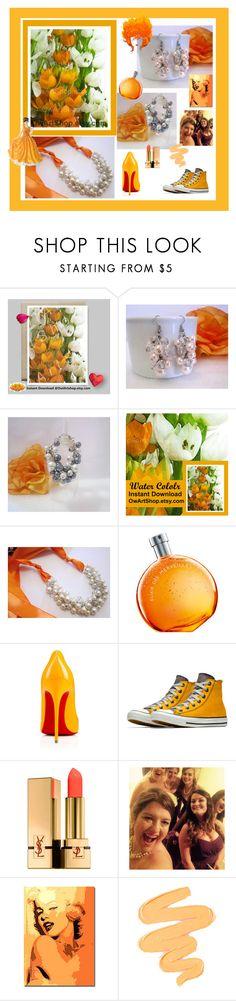 """Celebration in Orange"" by owlartshop ❤ liked on Polyvore featuring Hermès, Royal Doulton, Christian Louboutin, Yves Saint Laurent, Sigma, TintegrityT and EtsySpecialT"