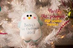 Items similar to North, the penguin - PDF sewing pattern, felt penguin, ornament, softie on Etsy Penguin Ornaments, Felt Ornaments, Christmas Tree Ornaments, Christmas Holidays, Christmas Crafts, Christmas Ideas, Felt Penguin, Babys 1st Christmas, My Little Baby