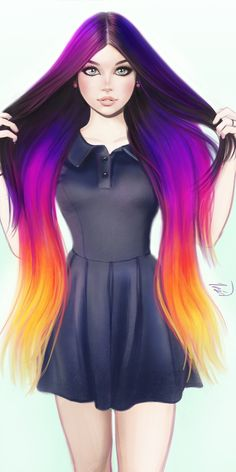 Colorful hairs, urban woman, minimal, 1080x2160 wallpaper Anime Girl Neko, Anime Art Girl, Gothic Hairstyles, Pretty Hairstyles, Elf Hair, Lady Lovely Locks, Chica Cool, Pretty Hair Color, Dibujos Cute