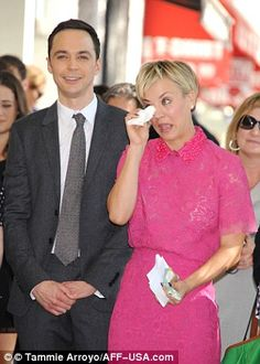 Pals: Jim Parsons, who plays loveable character Sheldon Cooper on THE BIG BANG THEORY, laughed alongside Kaley Cuoco as she teared up during the ceremony on the Hollywood Walk of Fame. Hollywood Boulevard, Hollywood Walk Of Fame, Penny And Sheldon, Chuck Lorre, The Bigbang Theory, Jim Parsons, Amanda Bynes, Kaley Cuoco, Female Friends