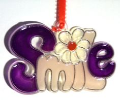 ORNAMENT  SMILE Acrylic  Purple  Clear  by CreativeXpression1, $3.50