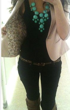cute outfit & turquoise statement necklace