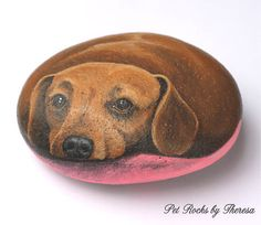 Hand Painted Dachshund Dog Rock Beach Stone Doxie to help support shelter animals