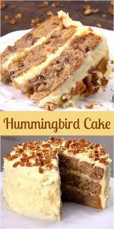 This Hummingbird Cake Recipe is the South's Favorite Cake Taste the South with our easy hummingbird cake recipe, a dense banana and pineapple layer cake with warm spices, rich cream cheese frosting, and toasted pecans. Best Cake Recipes, Dessert Recipes, Dinner Recipes, Layer Cake Recipes, Hummingbird Cake Recipes, Hummingbird Food, Salty Cake, Cake Mix Cookies, Cupcakes