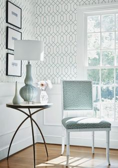 Thibaut LaFarge Wallcovering in Aqua Office Wallpaper, Home Wallpaper, Geometric Trellis Wallpaper, House Of Turquoise, Closet Bedroom, Home And Living, Painted Furniture, Fine Furniture, Beautiful Homes