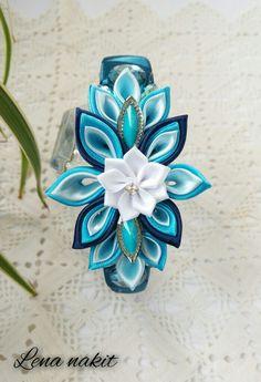 Blue kanzashi flower headband