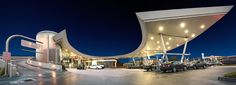 United Oil gasoline station. Opened in 2009 Los Angeles CA, US. Designed by Architect Stephen H. Kanner.