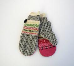 Felted Wool Sweater Mittens Fleece Lined Fair Isle by jmariecreates