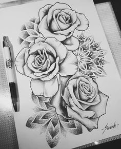 Geometrical mandala dot work roses tattoo design / drawing found on instagram