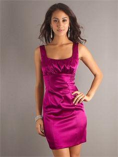 Fuchsia Pleats Sheath Satin Square Neck Elastic -like Prom Dress Mini Prom Dresses, Prom Dress 2013, Prom Dresses Online, Satin Dresses, Short Dresses, Party Dresses, Dresses 2014, Pink Dresses, Beach Dresses