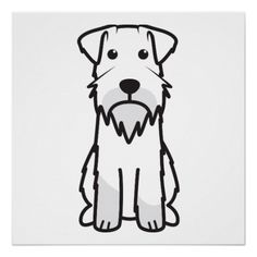 Shop Standard Schnauzer Dog Cartoon Poster created by DogBreedCartoon. Dog Outline, Outline Drawings, Cute Cartoon Drawings, Cartoon Pics, Cartoon Dog Drawing, Schnauzer Art, Miniature Schnauzer, Dog Drawing Simple, Standard Schnauzer