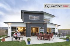 The backyard of this spectacular customer home, with plenty of outdoor living! Kitchen Pantry Design, Exterior Cladding, Outdoor Living, Outdoor Decor, House Exteriors, Backyard, Colours, Building, Home Decor
