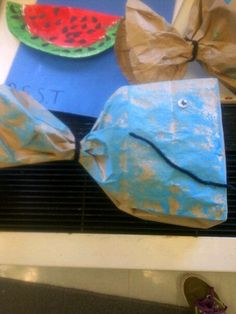 whale craft we did in school & watermelon craft! LETTER W yay!