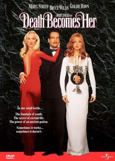 DEATH BECOMES HER: When a woman learns of an immortality treatment, she sees it as a way to outdo her long-time rival. When I watch this comedy I can't help but enjoy it and laugh out loud again and again! Meryl Streep, Goldie Hawn and Bruce Willis make a great trio! #cinema #movie