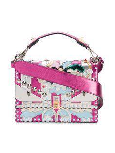 FENDI Kan I Embellished Shoulder Bag. #fendi #bags #shoulder bags #hand bags #leather #