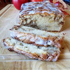 Apple Fritter Loaf ~ 1 teaspoon ground cinnamon  ⅔ cup white sugar  ½ cup butter, softened  2 eggs  1½ teaspoons vanilla extract  1½ cups all-purpose flour  1¾ teaspoons baking powder  ½ cup milk  1 apple, peeled and chopped (any kind is fine), mixed with 1 T granulated sugar and ½ tsp cinnamon  Glaze:  1 cup of powdered sugar + 1-3 tablespoons of milk or cream, mixed together to a drizzling consistency)