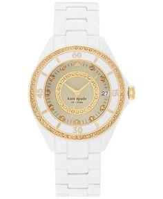 kate spade new york Women's Seaport Grand White Enamel-Coated Steel Bracelet Watch 38mm 1YRU0690 - Watches - Jewelry & Watches - Macy's