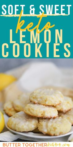 These thick Lemon Cookies, Yummy Cookies, Creamsicle Cake, Delicious Desserts, Dessert Recipes, Keto Recipes, Healthy Recipes, Keto Chocolate Chips, Crinkle Cookies