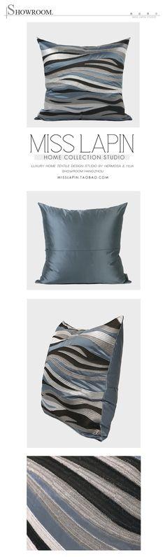 新中式/样板房家居软装沙发床头靠包抱枕/蓝灰色水纹图形绣花方枕-淘宝网