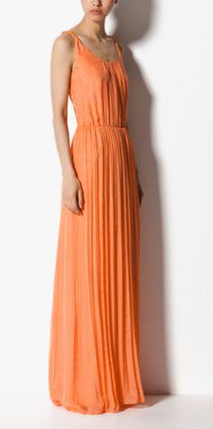 Massimo Dutti - Long Silk Dress With Straps