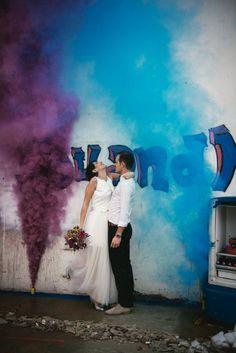 Graffiti, Smoke Bombs & An Abandoned Building: Colourful Wedding Ideas from France | Rock 'n Roll Bride | Bloglovin'
