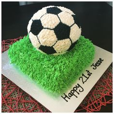 3D buttercream soccer ball cake
