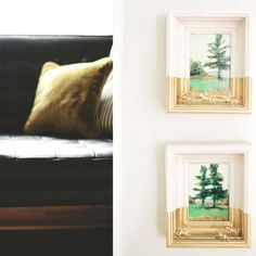 20 BIG Decor Ideas For 2015  #refinery29  http://www.refinery29.com/unique-small-space-decorating-ideas#slide-3  Matching Dipped Paintings  Matching paintings may seem old-school, but consider pairing them with dipped frames like these wall mounts by Annie Koelle.