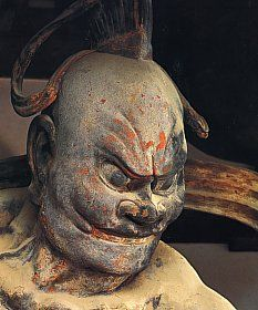 Ungyō 吽形 H = 375 cm  Kongō Rikishi 金剛力士 (Kongou, Kongo)  Clay (sozō 塑像) with paint (saishiki 彩色)  Nara Era, 711 AD (Wadō Period Year 4)  Hōryūji Temple 法隆寺 in Nara