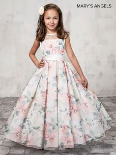 Long Floral Print Flower Girl Dress by Mary's Bridal Bridal Angels Collection-ABC Fashion Long Frocks For Kids, Frocks For Girls, Gowns For Girls, Little Girl Dresses, Girls Dresses, Baby Girl Gowns, Dresses For Kids, Girls Designer Dresses, Hoco Dresses