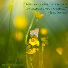 """You can change your world by changing your words..."" ~Joel Osteen #quote www.DeenaDouglas.com"