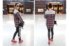 Casual Loose Fitting High-Low Hem Long Sleeve Plaid T-Shirt for Women (GRAY,ONE SIZE) China Wholesale - Sammydress.com
