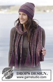 """Set consisting of DROPS hat in garter st and scarf in garter st worked sideways with flounce in """"Fabel"""" #knitting"""