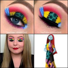 The Nightmare Before Christmas Sally makeup look How can you learn tricks if you're just starting to make up? Disney Eye Makeup, Disney Inspired Makeup, Eye Makeup Art, Makeup Stuff, Makeup Products, Halloween Eye Makeup, Halloween Eyes, Halloween Contacts, Halloween 2019