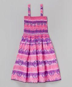 Love this Pink & Purple Hearts Sparkle Shirred Dress - Girls on #zulily! #zulilyfinds