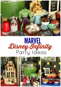 """Marvel Disney Infinity Games Party Ideas. Hulk Punch, """"Build Your Own""""...food bar and more! #InfinityHeroes #CollectiveBias #shop"""